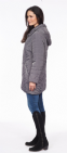 Womens ❤️Plus❤️ Charcoal Quilted Hooded Coat db188